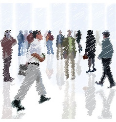 a crowd of scribble people going into the city vector image