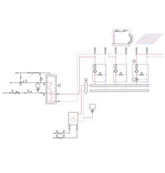 a diagram of the gas boiler project contour vector image