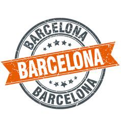 Barcelona red round grunge vintage ribbon stamp vector