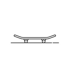 black thin line skateboard icon vector image