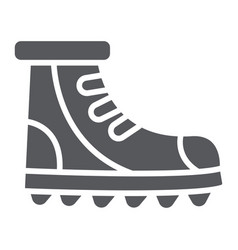 Boot glyph icon footwear and hiking shoe set vector