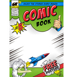 Bright comic book cover concept vector