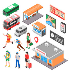 Bus terminal isometric set vector