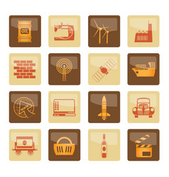 Business and industry icons over brown background vector