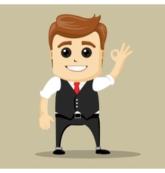 business man smile and shows OK hand sign vector image