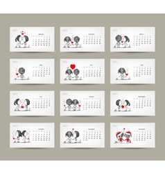 Calendar grid 2015 design Couple in love together vector
