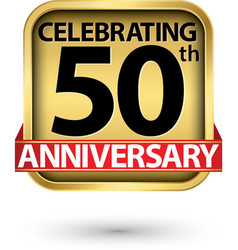 celebrating 50th years anniversary gold label vector image