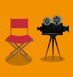 Cinema director chair with camera vector