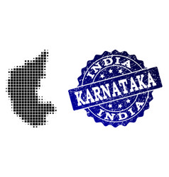 Collage of halftone dotted map of karnataka state vector
