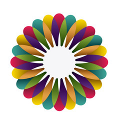 colorful circular frame formed by petals vector image vector image
