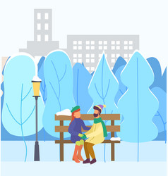couple in love on date in winter city park vector image