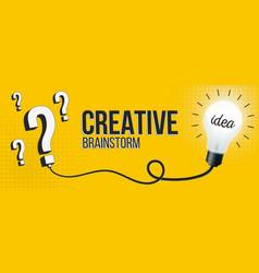 Creative brainstorm lightbulb question vector