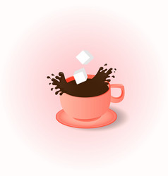 cup and saucer coffee spray spray the coffee vector image
