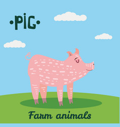 cute pig farm animal character farm animals vector image