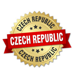 Czech republic round golden badge with red ribbon vector