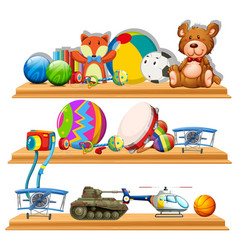 different types of toys on wooden shelves vector image
