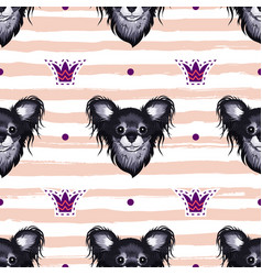 dog seamless pattern heads of puppies vector image