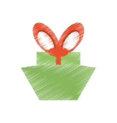Drawing green gift box red big bow vector