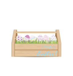 Easter eggs for decoration in wooden box vector