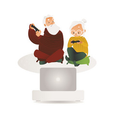 elderly couple having fun play video game vector image