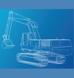 Excavator abstract drawing tracing vector