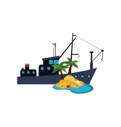 Fishing boat and island icon vector