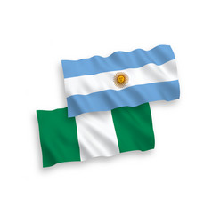 Flags nigeria and argentina on a white vector