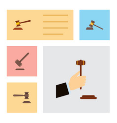 Flat icon court set of law hammer legal and vector