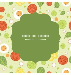 fresh salad circle frame seamless pattern vector image
