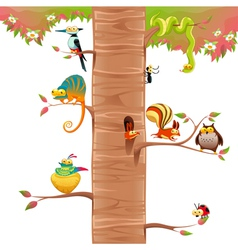 Funny animals on branches with white background vector