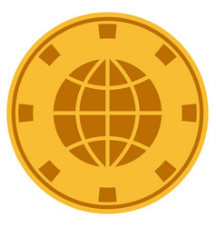 Globe gold casino chip vector