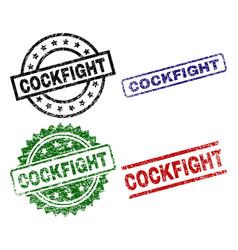 Grunge textured cockfight stamp seals vector