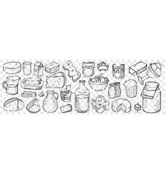 hand drawn dairy produce doodle set vector image