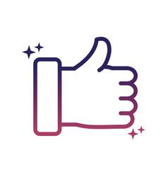 hand like approve social media gradient style icon vector image