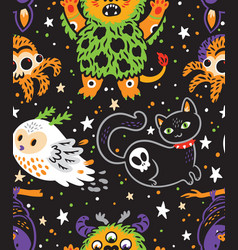 Happy halloween seamless background with cartoon vector