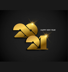 happy new year 2021 gold greeting card vector image