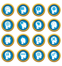 head logos icons blue circle set vector image