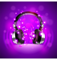 Headphones on dark glowing background vector