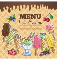 Ice cream menu color sketch on wafer background vector