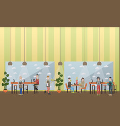 Internet cafe concept flat vector