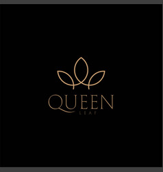 king queen crown leaf flower plant nature logo vector image
