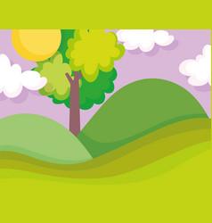 landscape nature tree clouds sun hills field vector image
