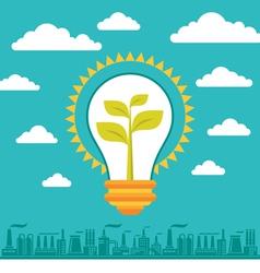 Light Bulb Green Energy vector image