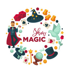 Magic show promotional round logotype with vector
