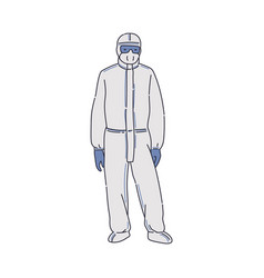 Man in chemical antiviral protective suit sketch vector