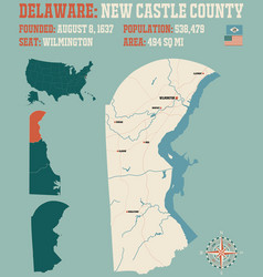 map new castle county in delaware vector image