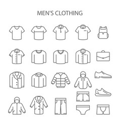 Men clothing line icons - set garments type vector