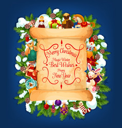 Merry christmas wishes paper scroll vector