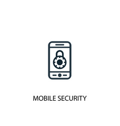 mobile security icon simple element vector image