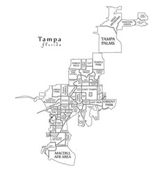 Modern city map - tampa florida city of the usa vector